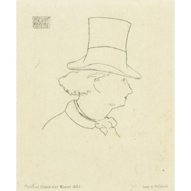 Baudelaire de profil en chapeau II